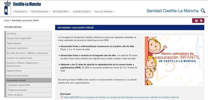 Entra en vigor el nuevo calendario de vacunación infantil de Castilla-La Mancha
