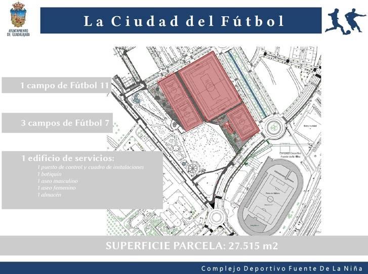 El Ayuntamiento de Guadalajara construirá un nuevo campo de fútbol 11 y tres de fútbol 7 en la Fuente de la Niña