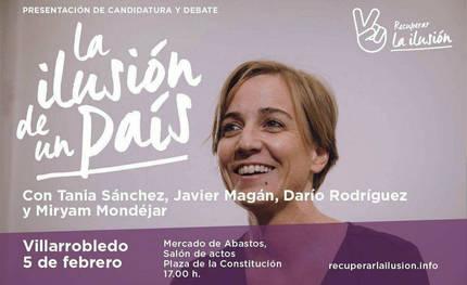 La diputada Tania Sánchez de Podemos hace campaña este domingo a favor de Errejón en Castilla La Mancha