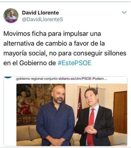 """El podemita de Guadalajara David Llorente reacciona : """"Movimos ficha para impulsar una alternativa de cambio a favor de la mayoría social, no para conseguir sillones en el Gobierno de #EstePSOE"""""""