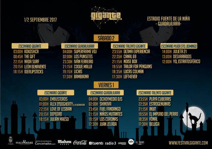 El Festival Gigante ya tiene los horarios de la edición de este año