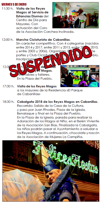 AVISO URGENTE: Cambios en el Programa de Cabanillas del 5 de enero por las previsiones meteorológicas
