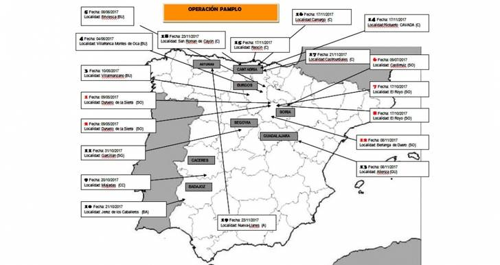 De los hechos esclarecidos hasta el momento, seis se cometieron en Soria, cinco en Cantabria, tres en Burgos, dos en Extremadura, uno en Asturias, uno en Segovia y otro en Guadalajara.