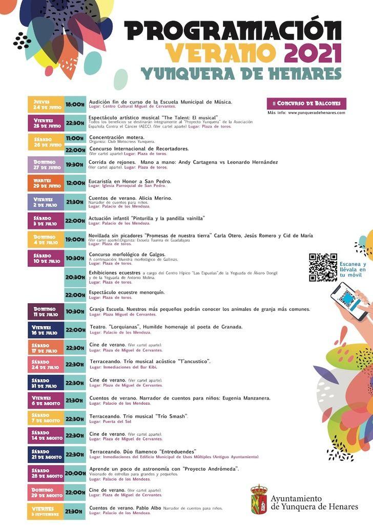 Un total de 25 actos componen la programación cultural y de ocio para este verano en Yunquera de Henares