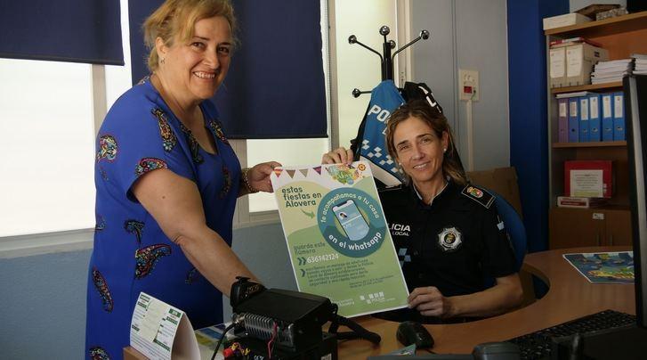 Alovera ofrecerá en fiestas un nuevo servicio de acompañamiento a casa por whastapp por medio de la Policía Local
