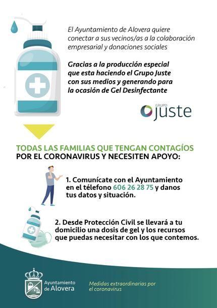Alovera ofrece gratuitamente dosis de gel desinfectante a las familias con contagios en colaboración con el grupo farmacéutico Juste