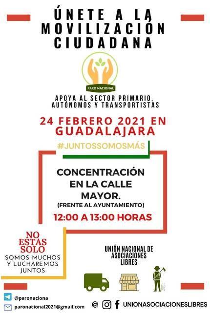 Los autónomos de GUADALAJARA se sienten desamparados y hacen visible su dramática situación en el parón convocado el 24 de Febrero en toda España