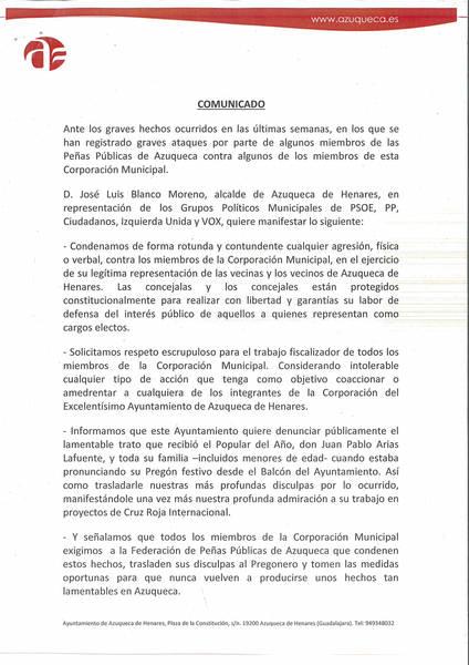 Comunicado del Ayuntamiento de Azuqueca ante los graves hechos ocurridos con las Peñas Públicas del municipio