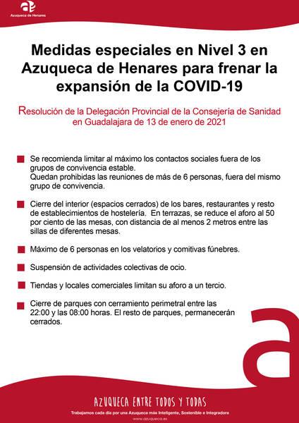 Debido a la incidencia acumulada de contagios de coronavirus (414,2 casos/100.000 habitantes), Sanidad decreta MEDIDAS ESPECIALES nivel 3 para Azuqueca