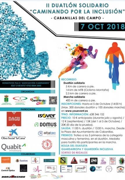 """Ya hay cartel definitivo para el """"II Duatlón Caminando por la Inclusión"""", que llegará a Cabanillas el 7 de octubre"""