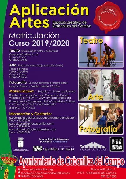 Abierta la matrícula para el curso 2019-2020 en las Escuelas de Arte, Teatro y Fotografía de Cabanillas