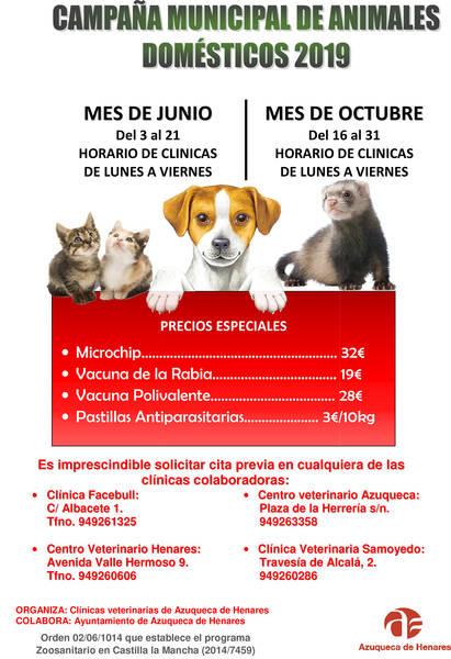 """El lunes 3 de junio comienza en Azuqueca la primera fase de la """"Campaña municipal de animales domésticos"""""""