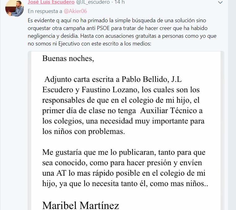 Carta de IU Azuqueca a José Luis Escudero