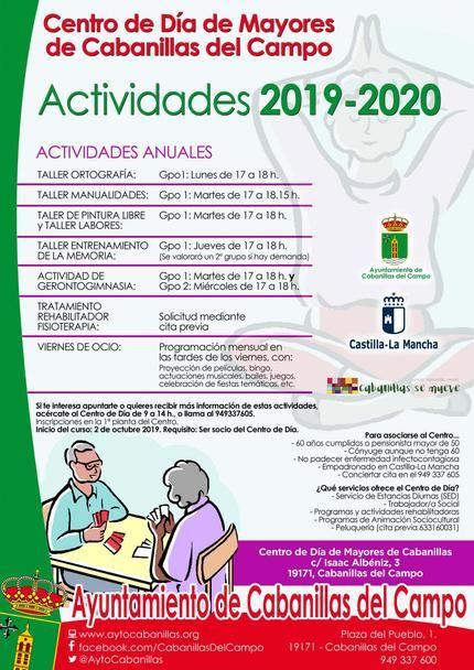 Ya es posible inscribirse a las actividades anuales del Centro de Día de Mayores de Cabanillas