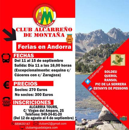 El Club Alcarreño de Montaña organiza una salida a Andorra durante la Semana de Ferias