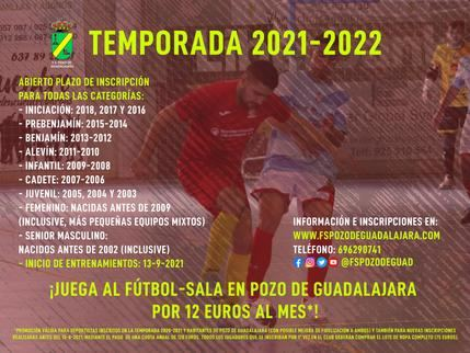 Comienza la temporada 2021-2022 para FS Pozo de Guadalajara, inscripciones abiertas desde 12 euros al mes