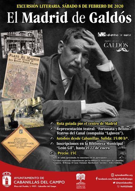 """La Biblioteca León Gil de Cabanillas organiza una excursión al """"Madrid de Galdós"""", con ruta guiada y teatro"""