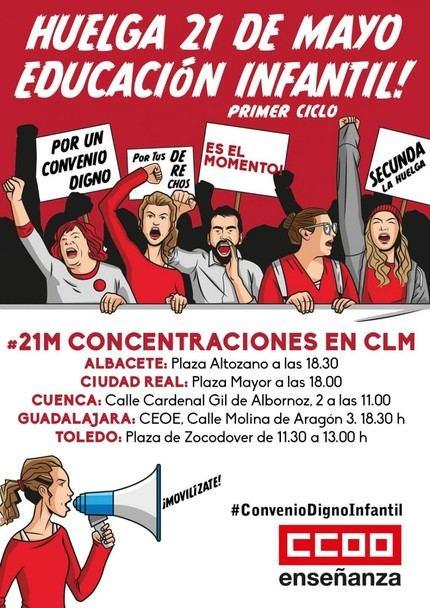Unas 3.000 empleadas de guarderías privadas en CLM, llamadas a huelga este martes en protesta por su convenio laboral