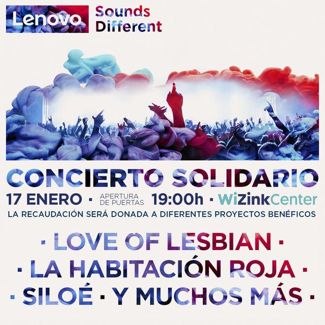 """El 17 de enero llega el concierto solidario """"Lenovo Sounds Different"""", al WiZink Center de Madrid"""