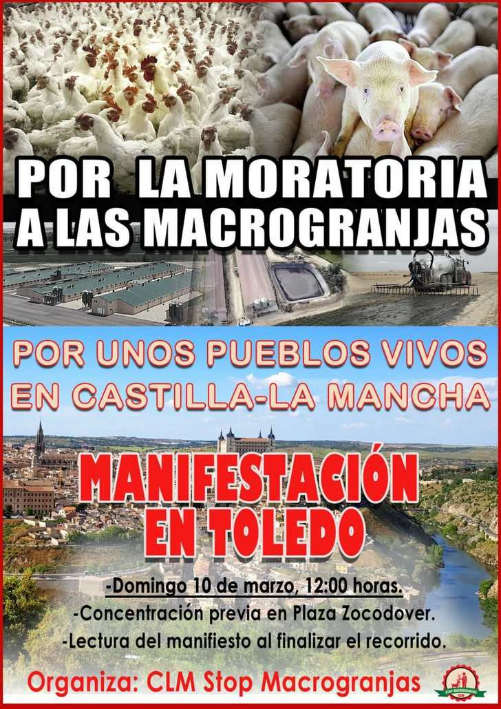 Pueblos de toda Castilla-La Mancha se manifiestan este domingo en Toledo para exigir una moratoria que paralice las licencias de las Macrogranjas