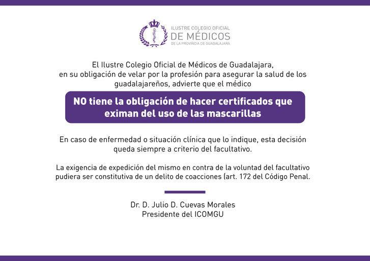 El ICOMGU recuerda: el médico no tiene la obligación de hacer certificados que eximan del uso de las mascarillas