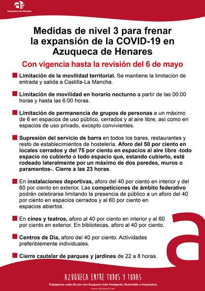 Azuqueca de Henares continúa con medidas de nivel 3 para el control de contagios de COVID-19