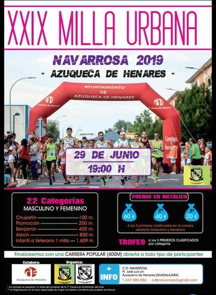 Este sábado, se celebra en Azuqueca la XXIX Milla Urbana Navarrosa