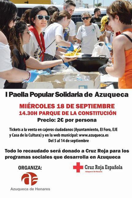Este miércoles, paella solidaria en Azuqueca para toda la ciudadanía, al precio de 2 euros y a beneficio de Cruz Roja