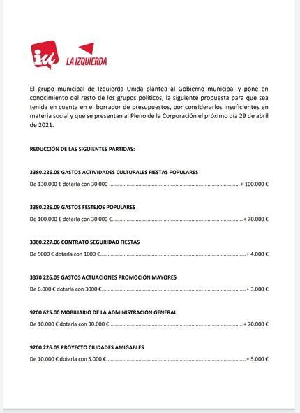 Izquierda Unida le hace una propuesta al proyecto de presupuestos que plantea el Gobierno de José Luis Blanco