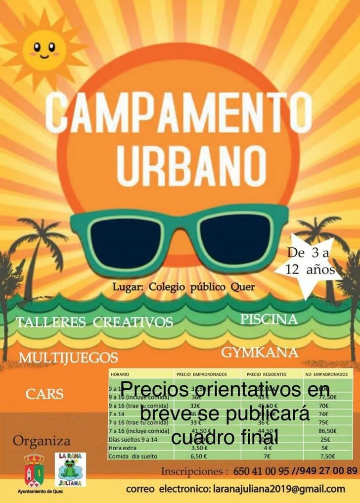 Si necesitas el servicio de Campamento Urbano de verano en Quer, aquí tienes la información