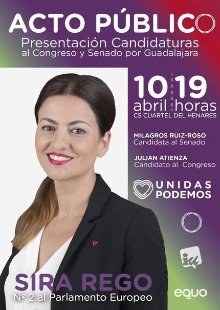 La candidata de 'Unidas Podemos Cambiar Europa' Sira Rego al Parlamento Europeo visitará Guadalajara