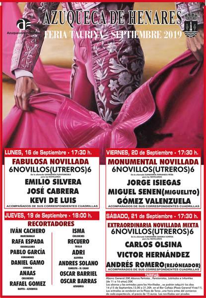 La Feria Taurina de Azuqueca incluye una novillada mixta, el sábado 21 de septiembre