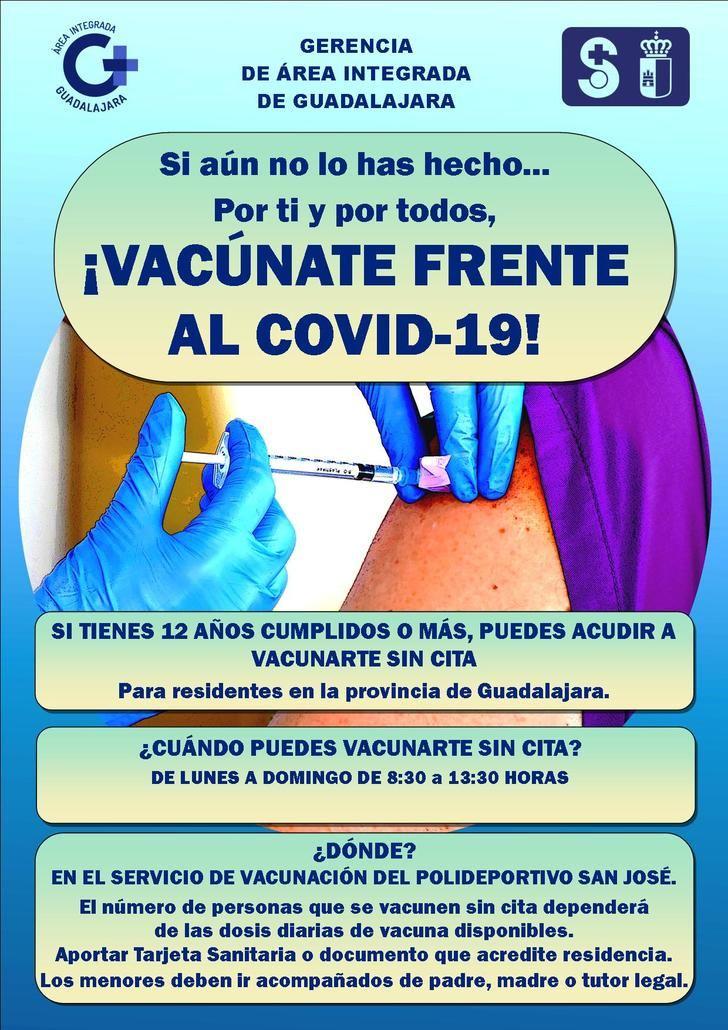 En Guadalajara se facilita aún más la vacunación de la población pendiente habilitando la vacunación SIN CITA TODOS los días de la semana