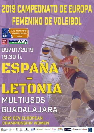 El miércoles 9 de enero en el Palacio Multiusos de Guadalajara, encuentro España-Letonia de voleibol femenino