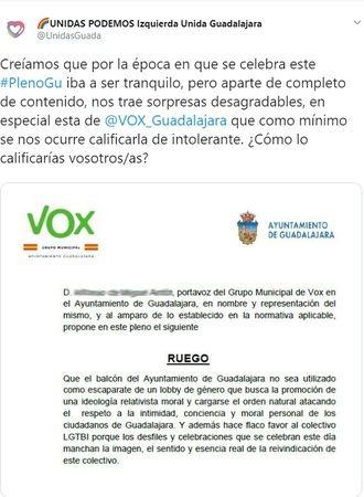 """Vox Guadalajara anuncia acciones legales contra el Grupo Unidas Podemos por """"revelación de documento público"""""""