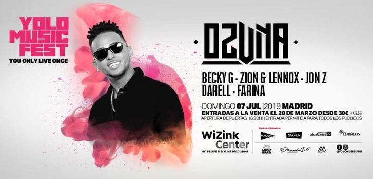Ozuna, Becky G y Zion & Lennox, en el Yolo Music Fest en el WiZink Center de Madrid