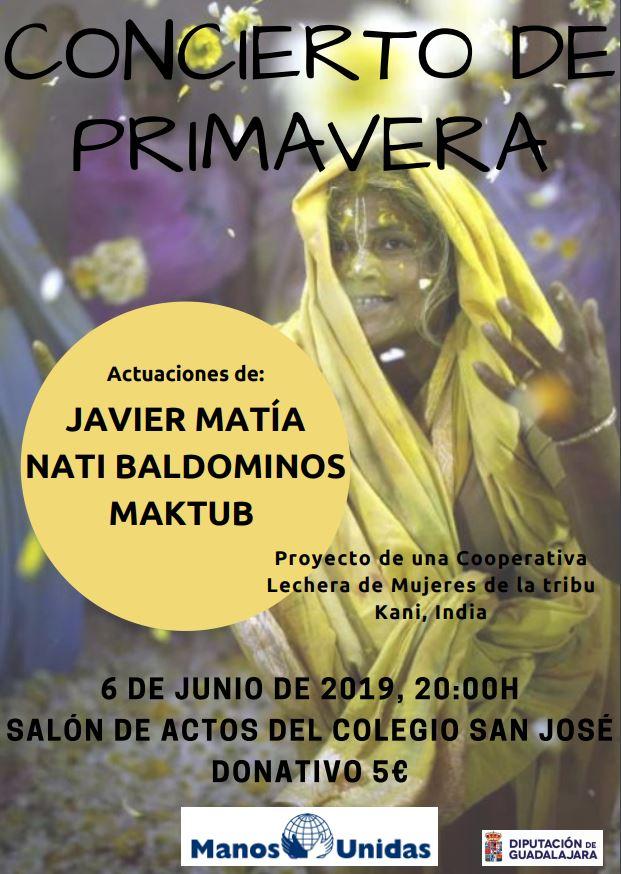 Este jueves 6 de junio, concierto de primavera de Manos Unidas en Guadalajara